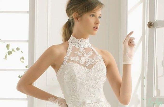 Robe de mariée col haut